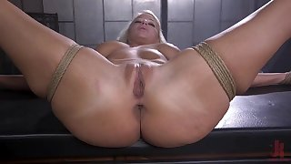 Vacant and bound blonde is fucked about many ways by her master