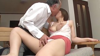Old man fucks busty Japanese comprehensive in illogical XXX scenes