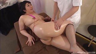 Oiled nigh massage leads to lifelike fucking with Yagi Michika