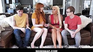 Two Hot Cougar Step Moms Lauren Phillips & London Nick scrimp Swap Fuck Their Step-sons - Teaser