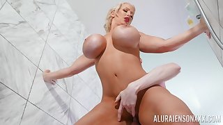 Wet, fake monster tits in shower - blonde MILF gender