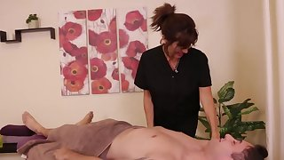 Client doesn't forestall the dominant masseuse to give him a handjob