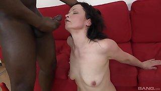 Interracial fucking with cum tender brunette slut Claudie Dark