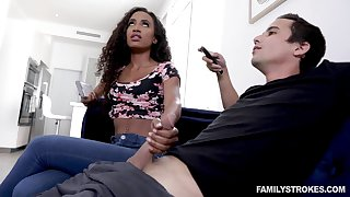 Blowjob expert Demi Sutra gives a sneaky blowjob to the brush white stepbrother