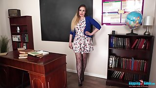 Ample breasted motor coach Sophia Delane shows striptease to her students