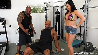 Two threatening jocks fuck anus and pussy of bosomy white milf Jasmine Jae