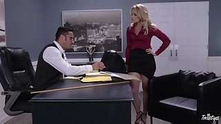 Busty boss Lisey Sweet lays on her back to be penetrated deep