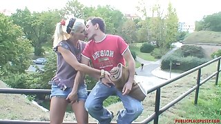 Risky outdoor fucking makes Kamila horny and she begs him not to hinder