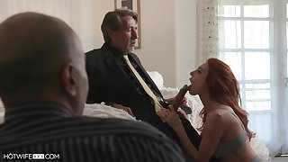 Employee is watching his old boss fucking red haired young wifey Lacy Lennon