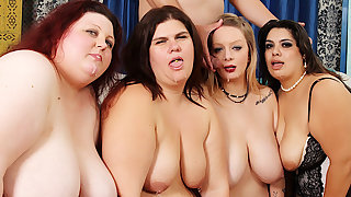 Four Wicked Plumpers Reverse Gangbang a Lucky Long Dicked Man